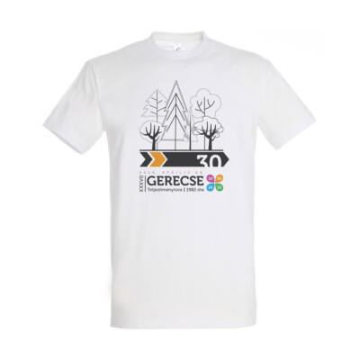 XXXVII. Gerecse50 férfi pamut póló (fehér/narancs, L)