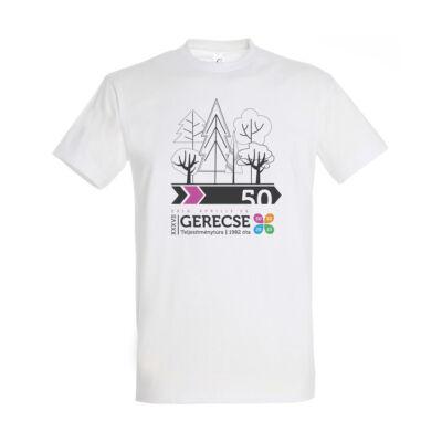 XXXVII. Gerecse50 férfi pamut póló (fehér/pink, 2XL)