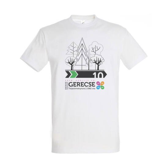 XXXVII. Gerecse50 férfi pamut póló (fehér/zöld, L)