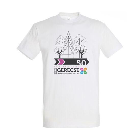XXXVII. Gerecse50 férfi pamut póló (fehér/pink, M)