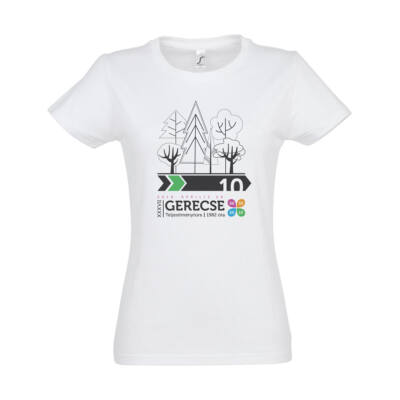 XXXVII. Gerecse50 női pamut póló (fehér/zöld, S)