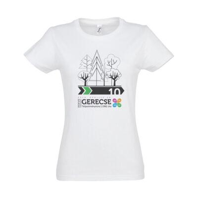 XXXVII. Gerecse50 női pamut póló (fehér/zöld, XL)